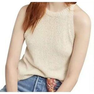 MAEVE Anthropologie Ivory Sleeveless Sweater Top